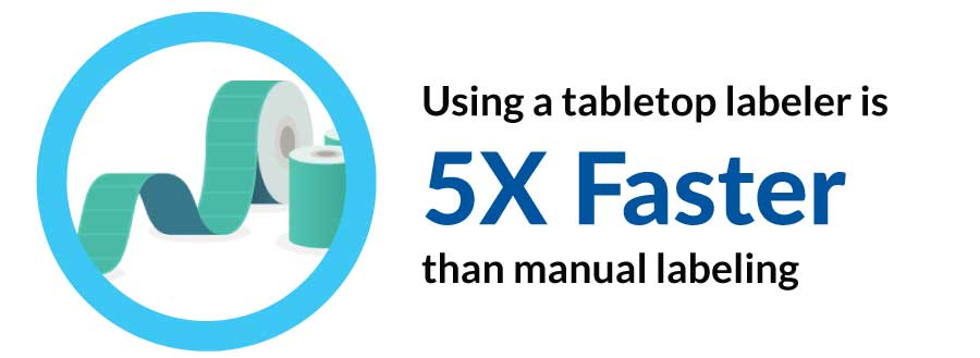 Using a tabletop labeler is 5X faster than manual labeling